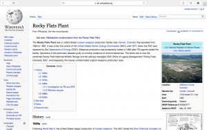 "Wikipedia-""Rocky Flats Plant"" a general overview of the history Rocky Flats Plant by contributors to wiki"